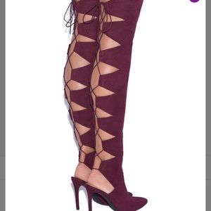 Size 11 Shoe Dazzle Cut Out Over Knee Boots